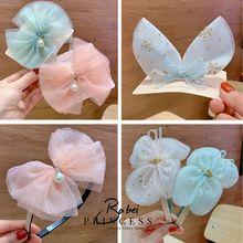 1pcs/Wedding Chiffon Bright Pink Yarn Bow Rabbit Ear Clip Girl Korean Hair Clips Childrens Headwear Accessories New Products