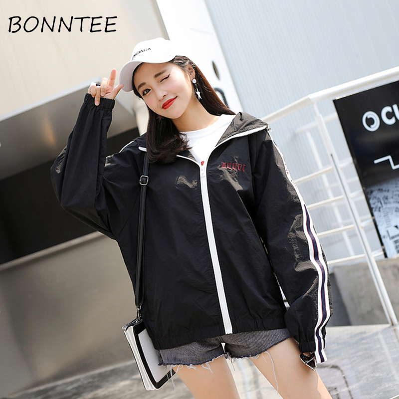 Women   Jackets   New All-match Sun Shading Summer Loose Hooded   Basic     Jackets   Womens BF Harajuku Fashion Thin Outerwear Casual Daily