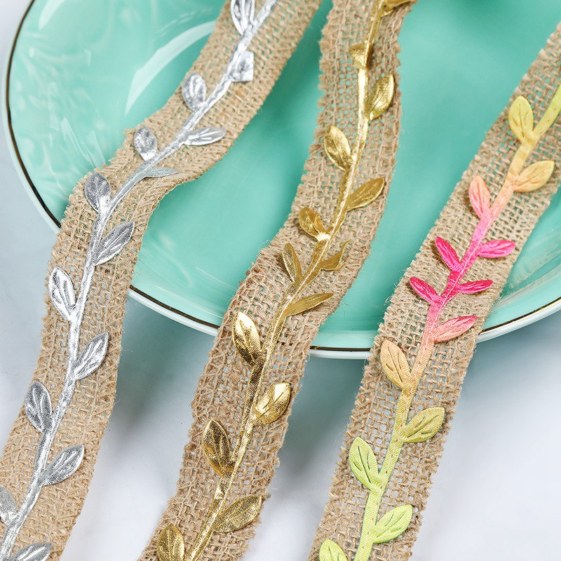 2 Pcs 2M Rattan leaf Retro Natural Burlap Ribbon Lace Tape Trim Rustic Jute Garland Hessian Roll Wedding Party Decoration Craft