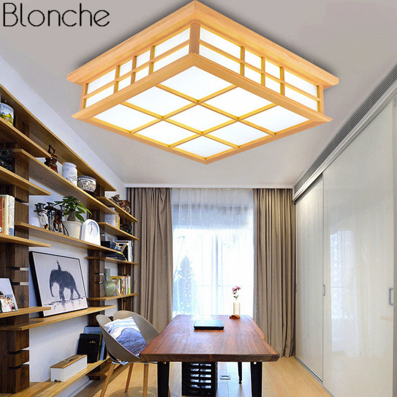 Japanese Style LED Ceiling Lamp Wood Square Ceiling Light Fixture for Bedroom Living Room Luminaire Modern Home Lighting 220V modern japanese tatami wood octagon led ceiling lamp bried chinese home deco living room acrylic yurts ceiling light fixture