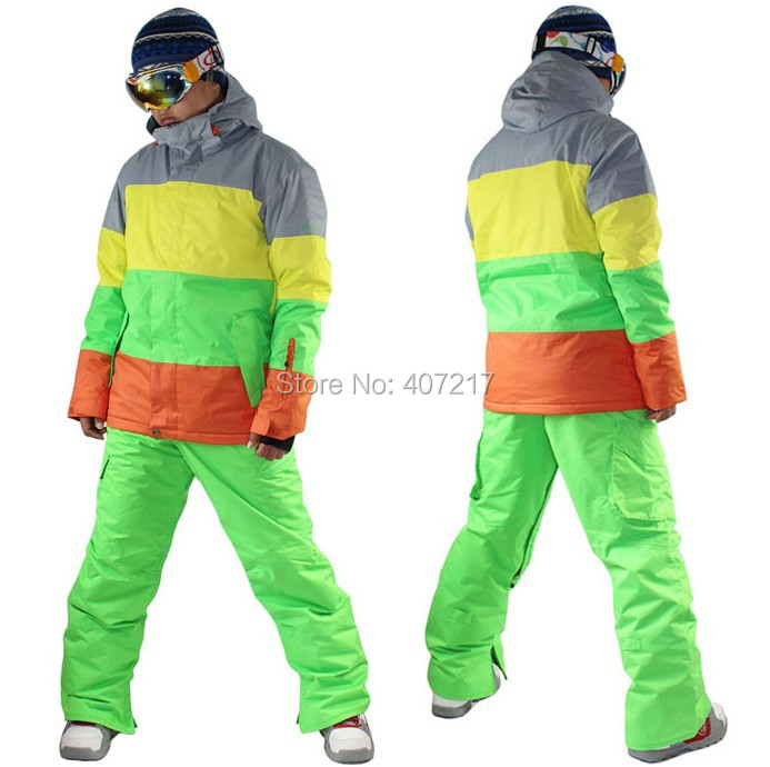 2014 mens ski jacket color matching snowboard jacket skiing jacket for men skiwear waterproof breathable warm free ship by EMS