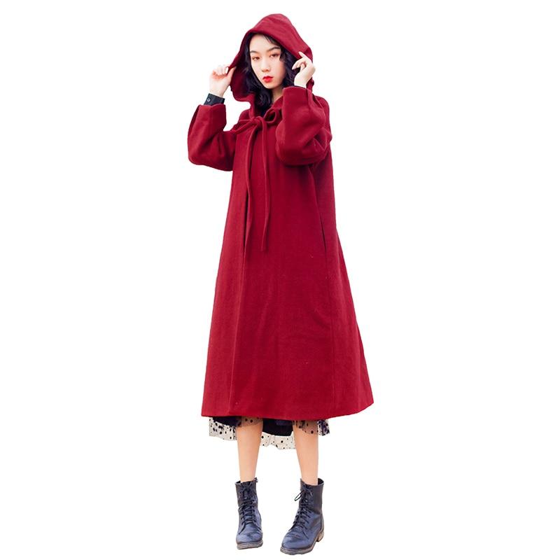 Cappotti Rosso Con Autunno Lunga Di Colore Lana Signore Rosa Femminile Giacca Donne Cappuccio Molla borgogna Della Cappotto 2019 Inverno Delle Lungo Maxi vdaz0vwq