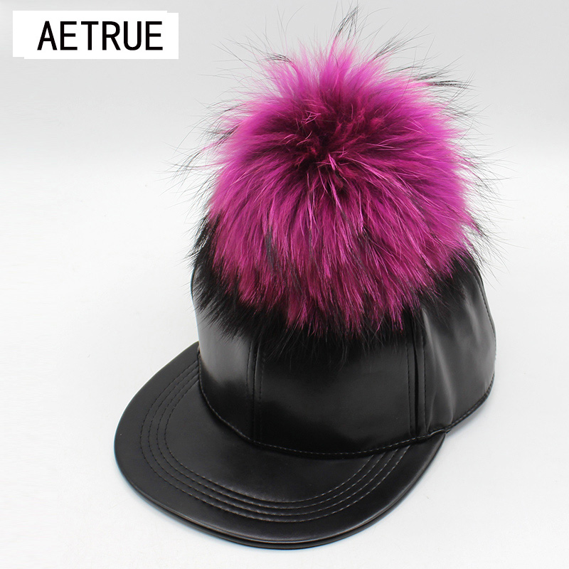New Women Hat PU Leather Baseball Cap Snapback Caps Brand Bone Fur Warm Winter Hats For Women Gorras Hip Hop Flat Ball Hat 2017 стоимость