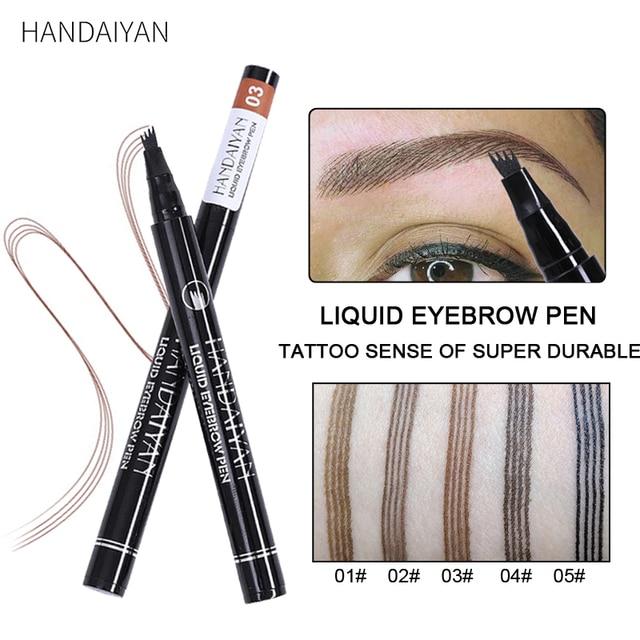Eyebrow Pencil Microblading Eyebrow Tattoo Pen Waterproof Fork Tip Fine Sketch Microblading Pencil Liquid Eyebrow Pen Makeup