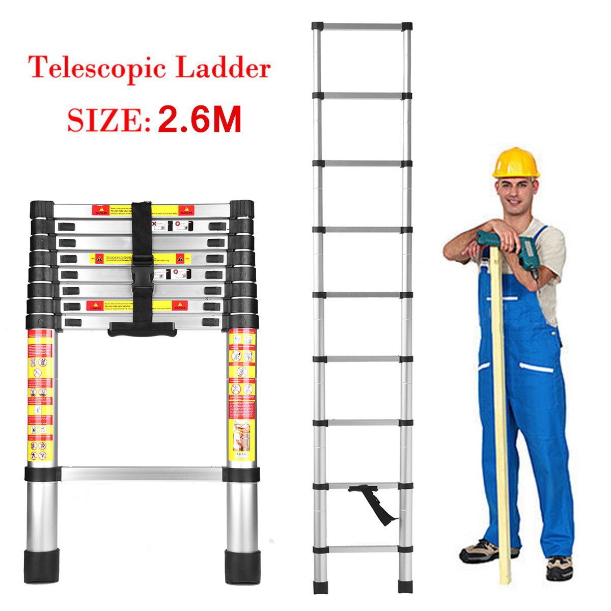 2.6 m 9 Passi Pieghevole In Lega di Alluminio Scaletta Prolunga Telescopica Allungabile Argento 150 kg Leggero Meccanismi di bloccaggio di Sicurezza