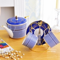 Creative Palace Coffee Cup Set Afternoon Tea Cup Coffee Blue Gold Soft Outfit