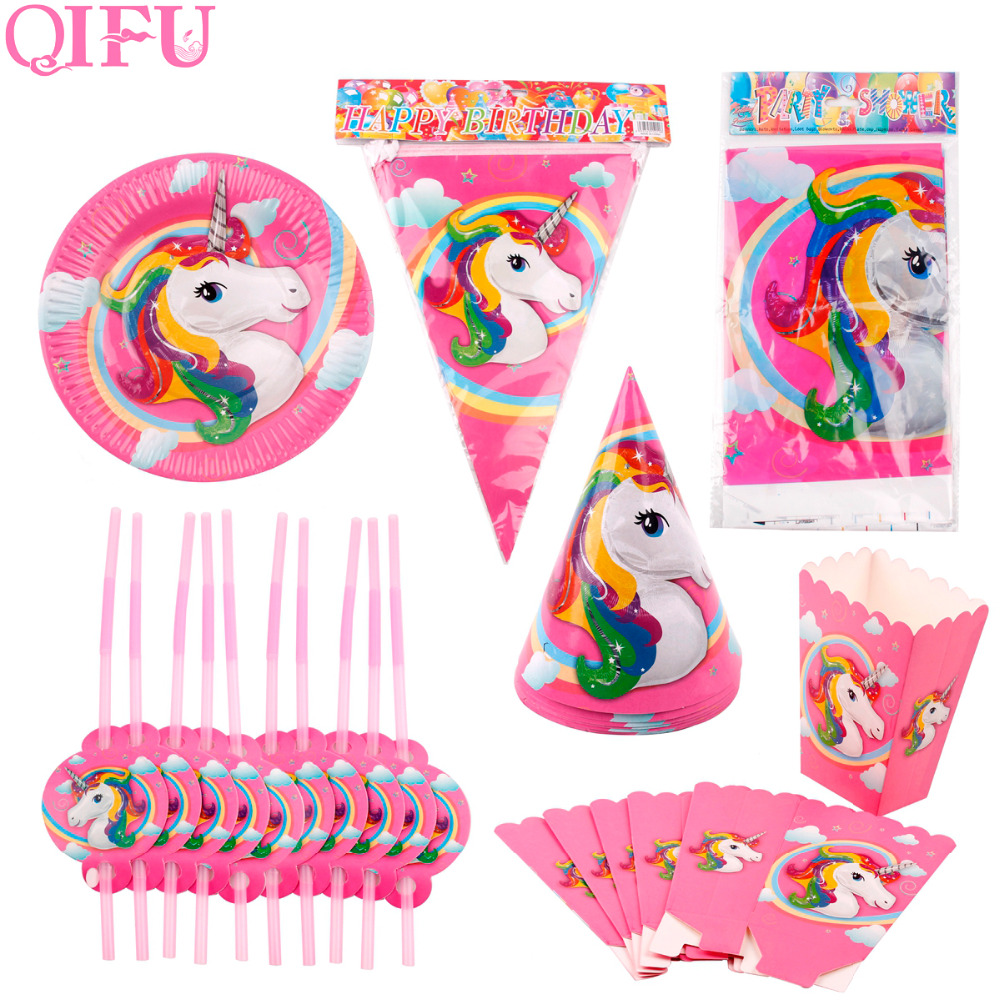 QIFU Unicorn Party Decoration Pink Paper Banner Popcorn Box Tableware Unicorn Birthday Party Decoraitons Kids Baby Shower Favors