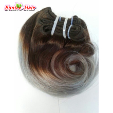 Cheap Human Brazilian Hair Weave Body Wave 4 Bundles 8inch Short Body Wave Hair Two Tone Ombre Grey Brazilian Body Wave