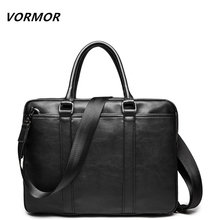 VORMOR Promotion Simple Famous Brand Business Men Briefcase Bag Luxury Leather Laptop Bag Man Shoulder