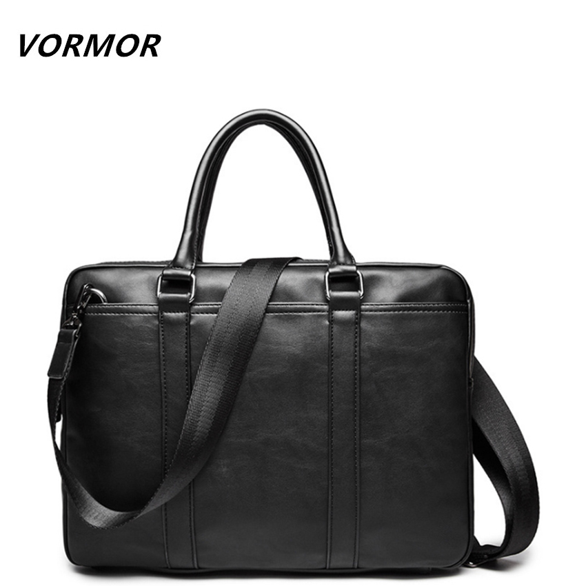 VORMOR Promotion Simple Famous Brand Business Men <font><b>Briefcase</b></font> Bag Luxury Leather Laptop Bag Man Shoulder Bag bolsa maleta