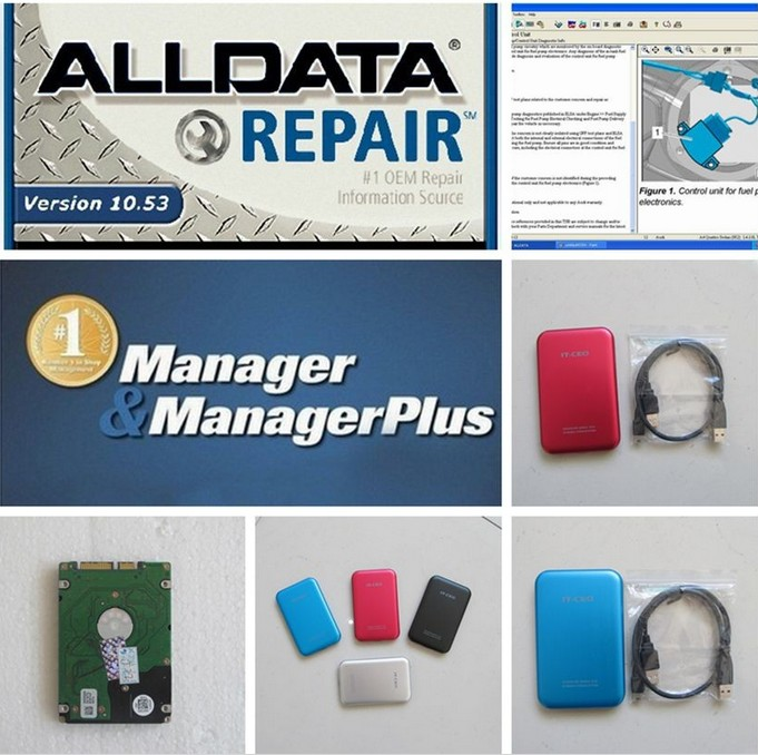 New 2017 Auto Repair Software Alldata 10.53+ mitchell on demand 5 software 2015 heavy truck new usb hard disk all data 1TB HDD