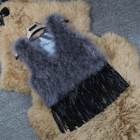 Tassel Sexy Real Ostrich Wool Fur Coat Turkey Women Fur Wool Coat Feather Fur Short Jacket