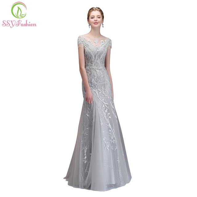 SSYFashion New High end Banquet Elegant Grey Mermaid Evening Dress Luxury  Crystal Beading Fishtail Long Prom Party Formal Gown-in Evening Dresses  from ... 47b144078
