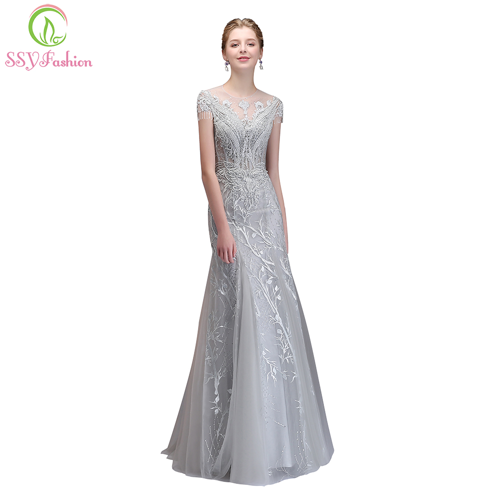 SSYFashion New High-end Banquet Elegant Grey Mermaid   Evening     Dress   Luxury Crystal Beading Fishtail Long Prom Party Formal Gown
