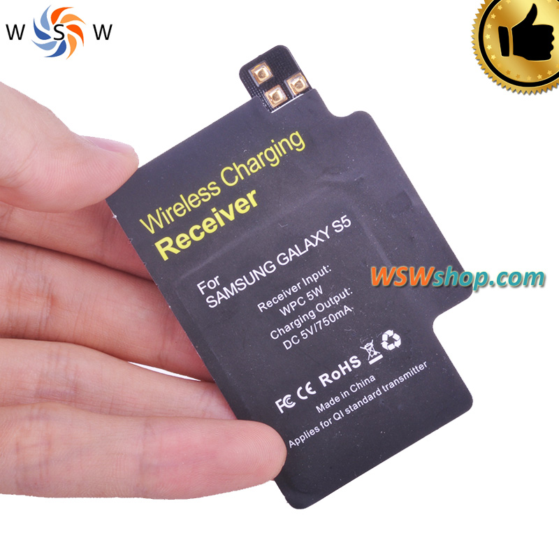 Wireless Charger Receiver For Samsung Galaxy S5 Qi With Imported IC For Samsung Galaxy S5 I9600 High Quality Qi Charger Adaptor