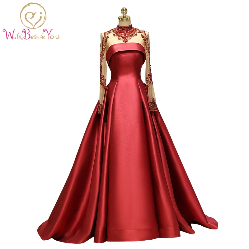 100% Real Burgundy   Prom     Dresses   Long Sleeves Beaded High Neck Satin A-line Abiye Gece Elbisesi Elegant Evening Gowns Robe De