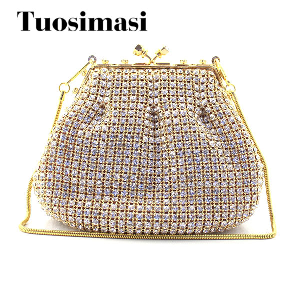 Crystal Rhinestone Bag Gold Evening Bag Women Small Banquet Bag Diamond Clutch Purse Chain Shoulder Bag Bridal Handbag Clutches