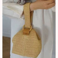 Straw Bags For Women Summer Ladies Beach Bag Vintage Handmade Knitting Crossbody Bags Casual Shoulder Bags