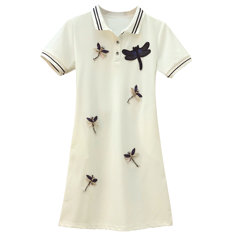 Amolapha Women Turn Down Collar Diamonds 3D Dragonfly Casual Tshirt Dresses Clothing