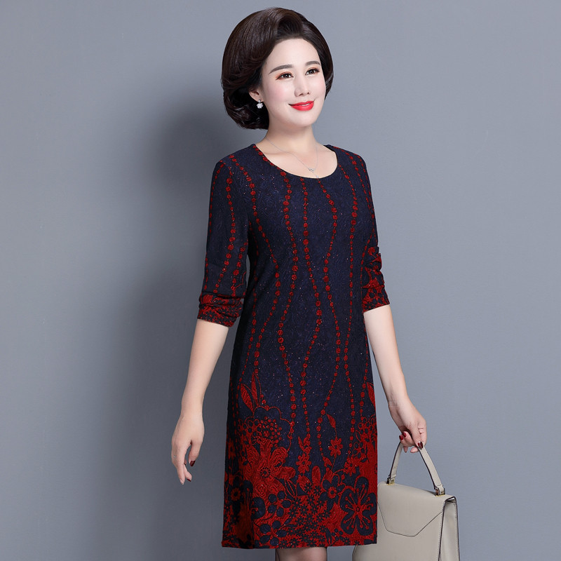 4ddb4e9215d ... Elegant Middle Aged and Old Women s Autumn Dress Long Sleeve 40 - 50  Year Old Mother ...