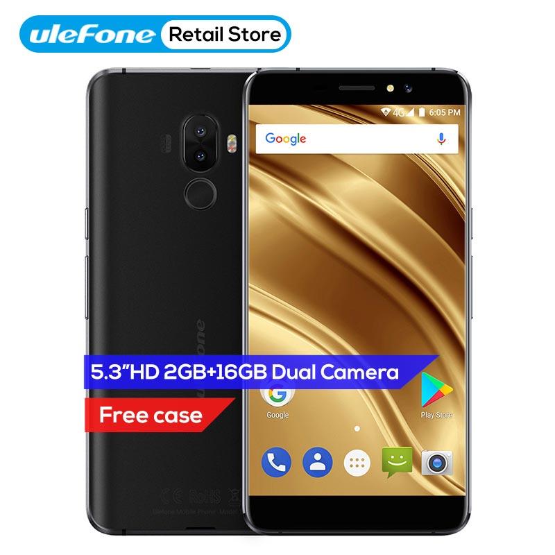 Ulefone S8 Pro 5.3 pouce Android 7.0 4g Mobile Téléphone MT6737 Quad Core 13MP + 5MP 2 gb RAM 16 gb ROM 3000 mah D'empreintes Digitales ID Smartphone