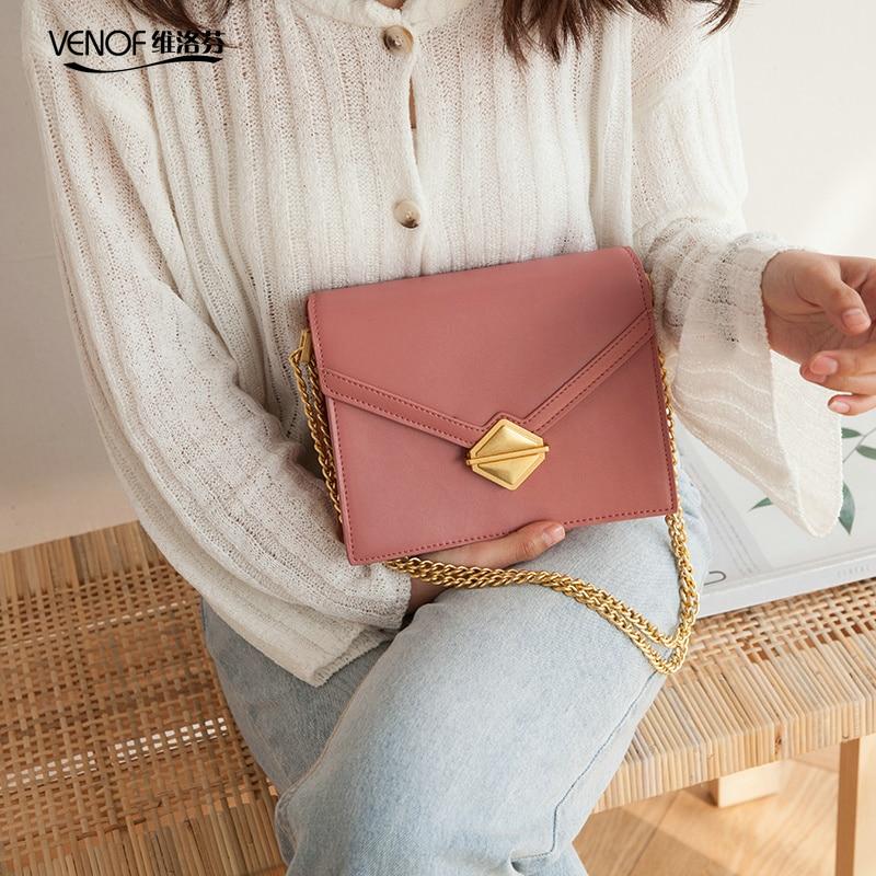 2019 fashion chain envelope bags luxury split leather crossbody bag for women Casual messenger bags elegant