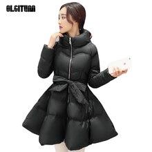 OLGITUM 2017 Мода Зима Женщины Теплая Куртка Пальто Парки Вниз и Parkas Толстая Лук Талия Пышная Юбка Топы CD538