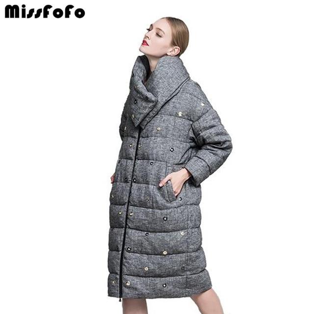 MissFoFo 2017 флюид вниз Винтаж Мода CLJ бренд Свободный Повседневный пальто средней длины вниз женский белый и серый мода размер S-2XL