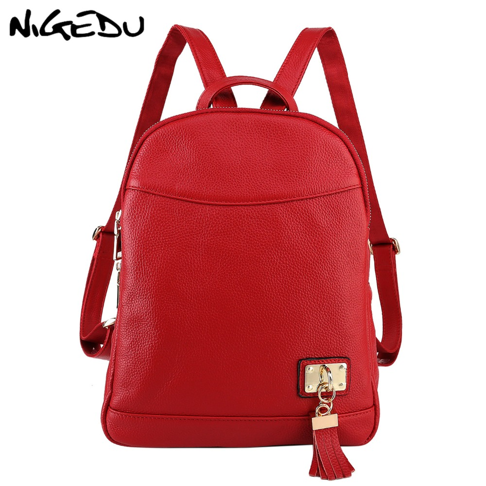 NIGEDU Genuine leather Women Backpack Luxury design Fashion tassel Shoulder Bag anti theft backpack travel bag girls school bags tegaote new design women backpack bags fashion mini bag with monkey chain nylon school bag for teenage girls women shoulder bags