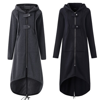 CROPKOP Fashion Long Sleeve Hooded Trench Coat 2018 Autumn Black Zipper Plus Size 5XL Velvet Long Coat Women Overcoat Clothes 4
