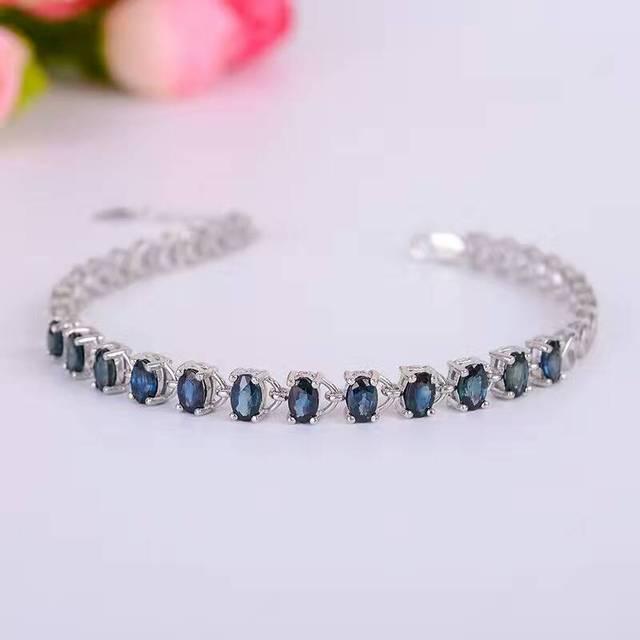 Promoção pulseira de safira 12 pcs 3.6ct natural dark blue sapphire gemstone pulseira sólida 925 pulseira de prata de gemstone