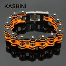 Punk Orange Bicycle Bike Bracelets & Bangles Motorcycle Chain Men's Black Bracelet Men Stainless Steel Biker Men Jewelry недорого