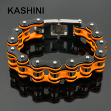 Punk Orange Bicycle Bike Bracelets & Bangles Motorcycle Chain Men's Black Bracelet Men Stainless Steel Biker Men Jewelry