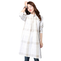 Plus Size Cotton Maternity Blouses Loose Top Plaid Clothes For Pregnant Women Wear Pregnancy Clothing Linen
