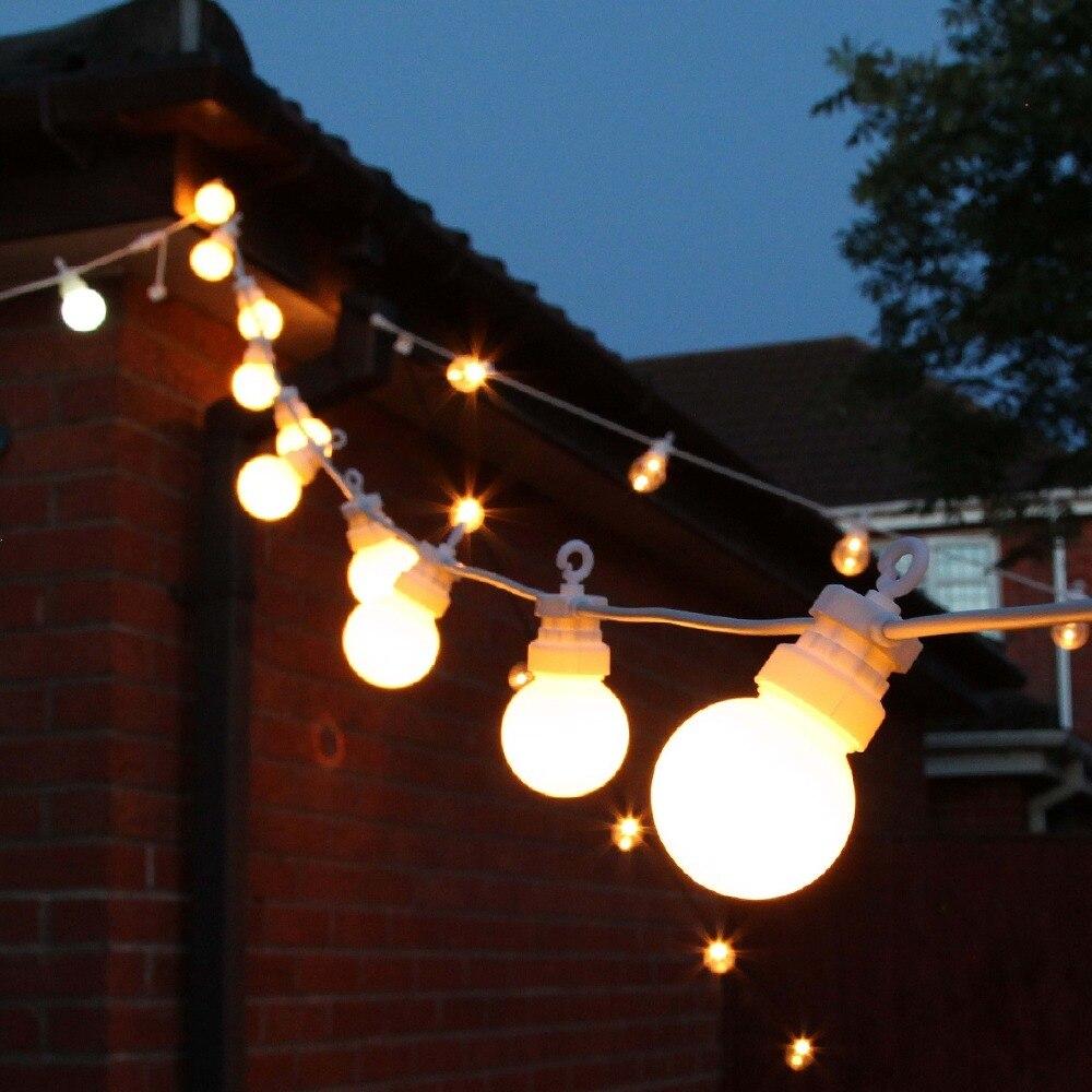 Super Lumineux 15 m 20 Ampoules Feston lumières chaîne G50 200 LED De Noël Patio Fée lumière pour l'extérieur De noce décoration