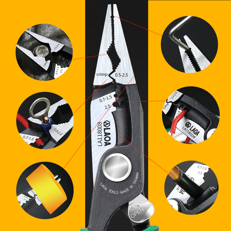 Image 4 - LAOA 8 inch Multitool Pliers Crimping Tools Nippers Cable Wire Stripper Aalicate Long Nose Pliers With Lock Function-in Pliers from Tools