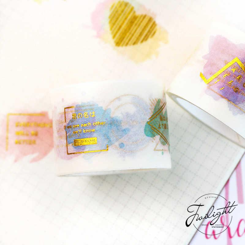 15mmX5m Mimpi Romantis Bronzing Pita Dekorasi Mengkilap Washi Tape DIY Stiker Dekorasi Pesta Sekolah Alat Tulis Kantor Dukungan