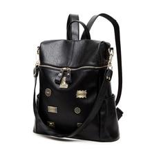 GLHGJP Fashion Women Backpack PU Leather Bagpack School Rucksack for Adolescent Girls Medals Travel Bag Mochilas Bolsa Feminina