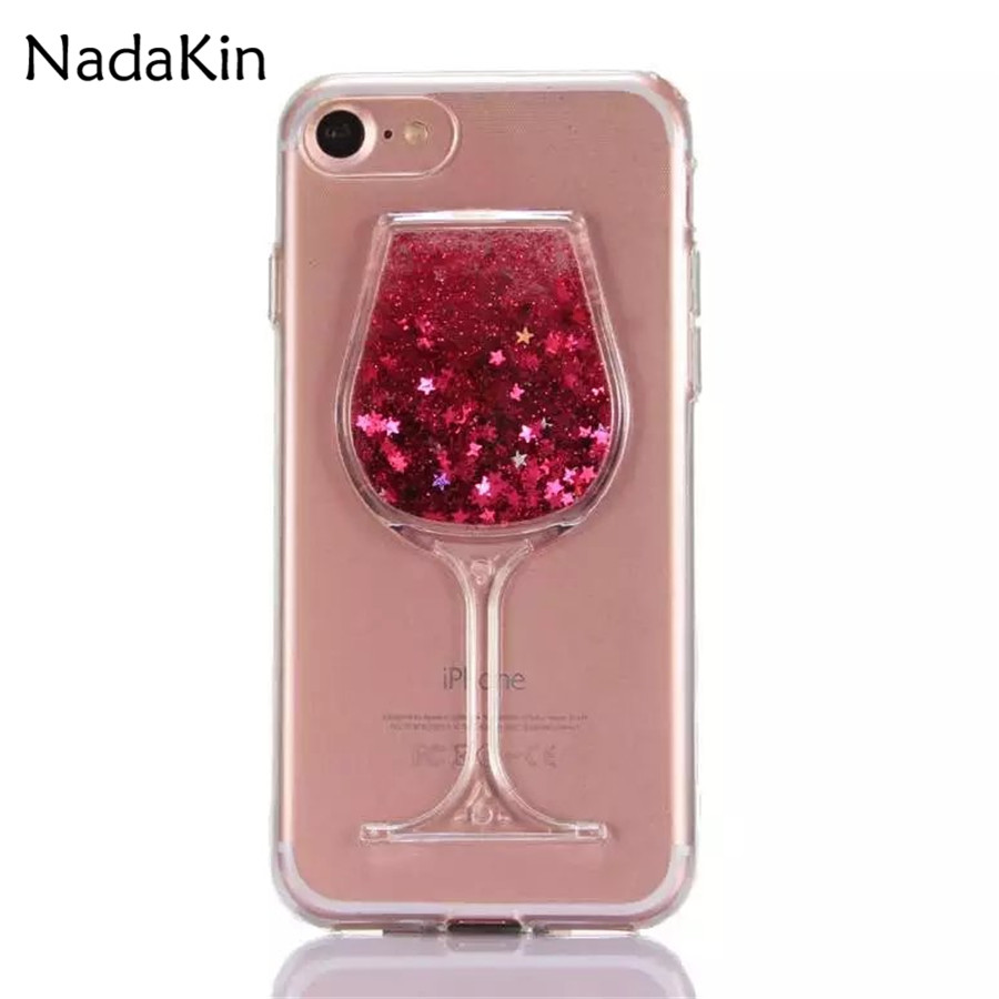 Flowing Quicksand Wine Glass Acrylic Case for Huawei Enjoy 6 6S 6A 7 Plus Y3II Y5II Y3 Y5 Y7 2017 Nova 2 2S P9 P10 G9 Lite Plus