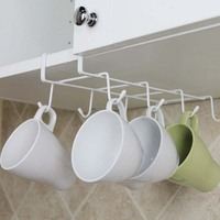 1 Pc Hang Without Nail Bulkhead Cups Holders Kitchen Storage Racks Red Wine Coffee Racks Creative