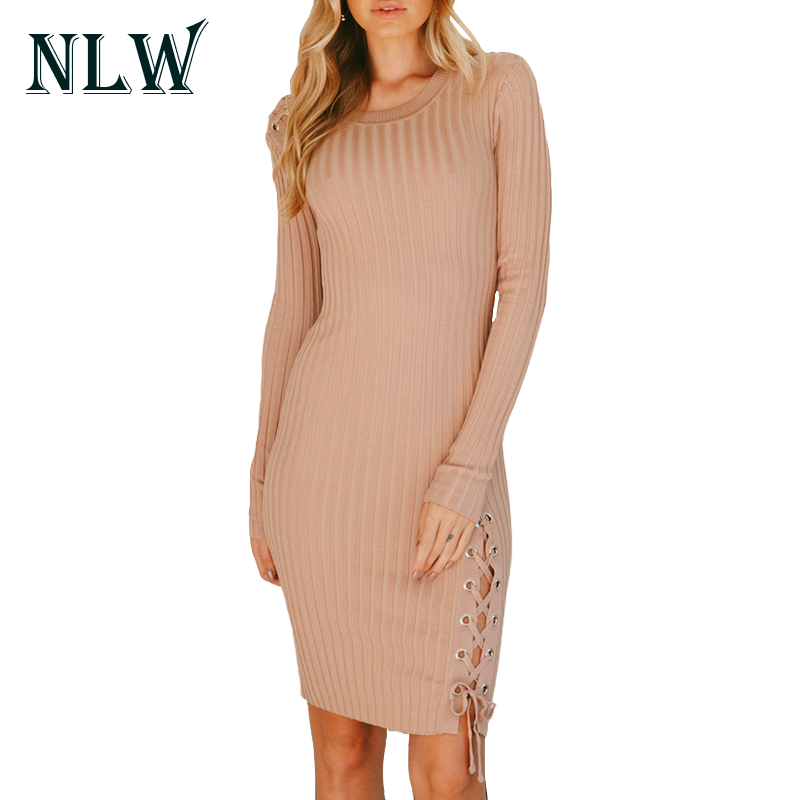 NLW Sexy Slim Lace Up Women Sweater Dress 2017 Autumn Elegant Party Bodycon Lady Mini Dresses O Neck Sheath Club Knitted Dress