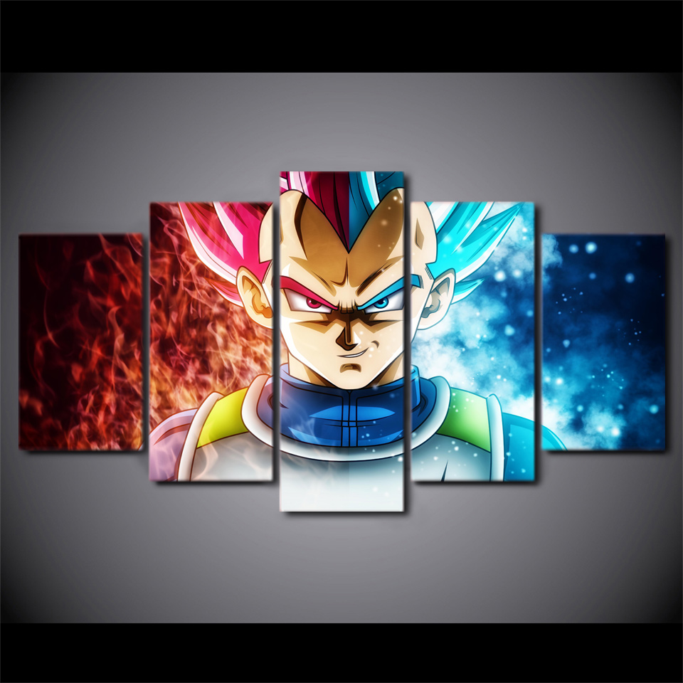 Canvas Paintings For Living Room Home Decor HD Prints 5 Pieces Dragon Ball Anime Pictures Super Saiyan Poster Wall Art Framework in Painting Calligraphy from Home Garden