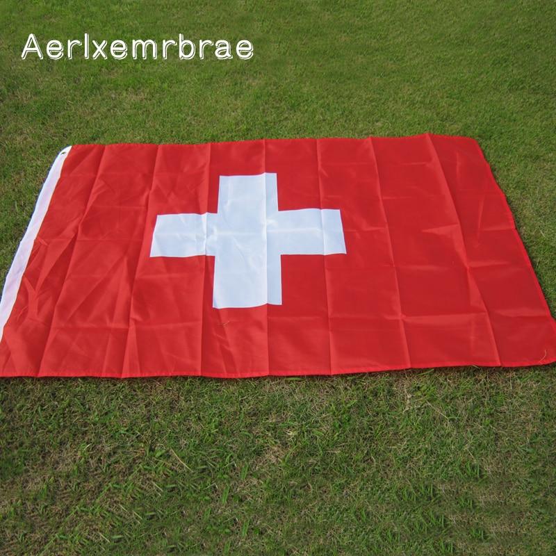 Free Shipping aerlxemrbrae flag Swiss Flag NEW 100% Polyester Switzerland Flag 3x5 ft Flag(China)