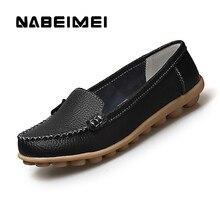 Женская обувь на плоской подошве Лоферы натуральная кожа новый стиль с круглым носком туфли Весна/осень Дамская обувь Большие размеры 35-44