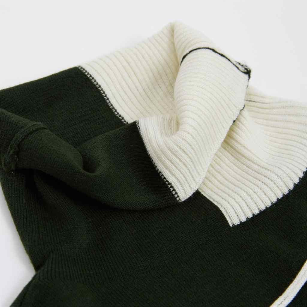 En venta suéter de mujer de excelente calidad Otoño Invierno contraste de Color de retazos de cuello alto de manga larga Mujer suave Pullovers C-150