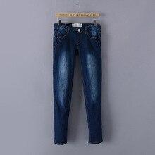Оригинальный бренд новая мода красивый Тонкий брюки промывают джинсовые брюки молния карандаш брюки ноги джинсы женские 2016