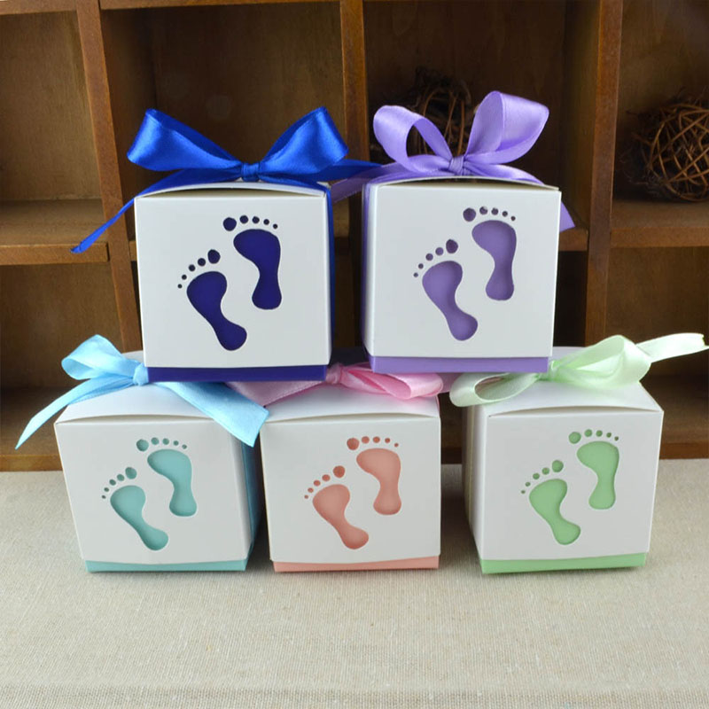 10pcs Lovely baby Feet foot Laser Cut-out Baby Shower Favor Gift Candy Box Gift Boxes For Boy Girl Birthday Party Favors Gift