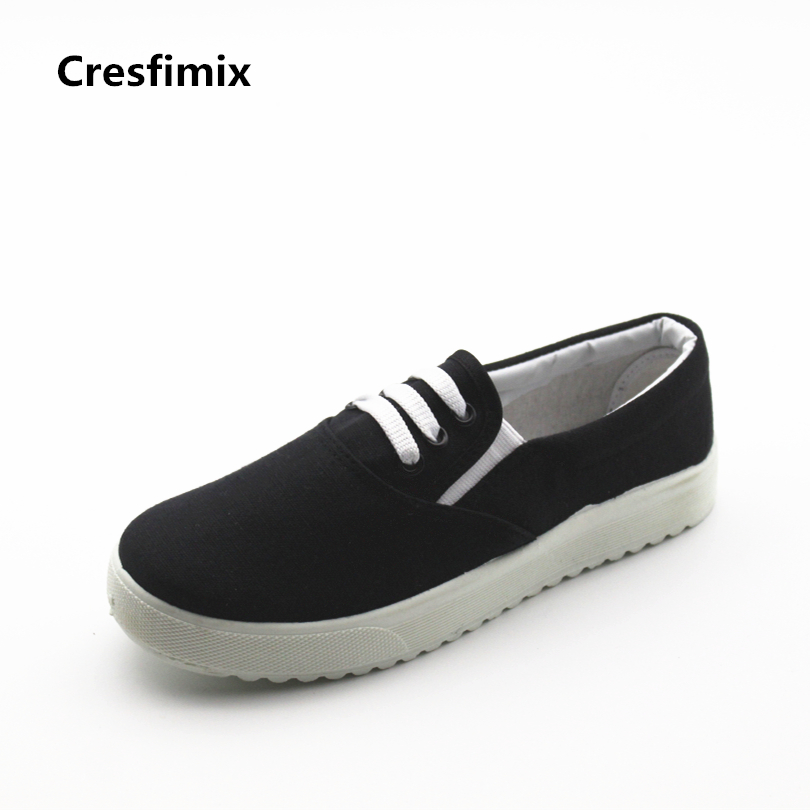 Cresfimix women fashion black canvas slip on flat shoes female cool comfortable spring & summer shoes lady cute shoes zapatos cresfimix women cute black floral lace up shoes female soft and comfortable spring shoes lady cool summer flat shoes zapatos