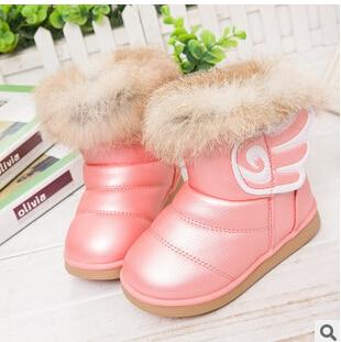 새로운 진짜 Rubbit 모피 아이들의 눈 시동 EU21-30 꼬마 소녀 따뜻한 신발 아기 플러시 방수 겨울 부드러운 고무 outsole 부츠