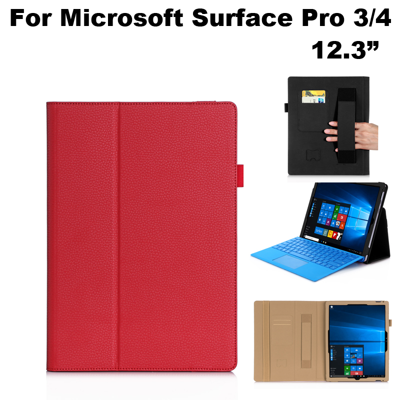 High Quality PU Leather Stand Cover Case Card Slot Hand Strap Protection For Microsoft Surface Pro 3/4 12.3 Tablet Case+Gifts
